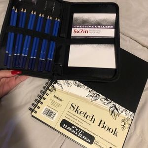 Sketch book & pencils with case, new